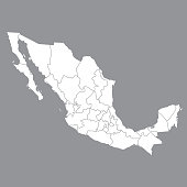 Blank map Mexico. Map of Mexico with the provinces. High quality map of  Mexico on gray background. Stock vector. Vector illustration EPS10.