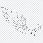 Blank map Mexico. Map of Mexico with the provinces. High quality map of  Mexico on transparent background. Stock vector. Vector illustration EPS10.