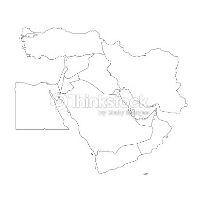 Blank Map Of Middle East Or Near East Simple Flat Outline Vector ...