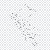 Blank map  Peru. High quality map  Peru with provinces on transparent background for your web site design, logo, app, UI. Stock vector. Vector illustration EPS10.