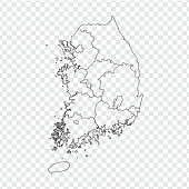 Blank map South Korea. High quality map of  South Korea with  the provinces on transparent background for your web site design, logo, app, UI. Stock vector. Vector illustration EPS10.