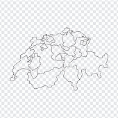 Blank map Switzerland. High quality map Switzerland with provinces on transparent background for your web site design, logo, app, UI. Stock vector. Vector illustration EPS10.