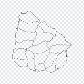 Blank map  Uruguay. High quality map  Uruguay with provinces on transparent background for your web site design, logo, app, UI. Stock vector. Vector illustration EPS10.