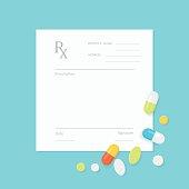 Blank Medicine Prescription Form with Pills Scattered