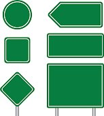 Blank green multiple size of blue transportation sign set with pole