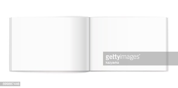 Blank of open album on white background. Template : Vector Art