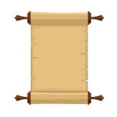 Blank old ancient scroll of papyrus paper cartoon isolated on white background. Blank retro papyrus sheet in flat style, illustration of ancient parchment. Vector illustration