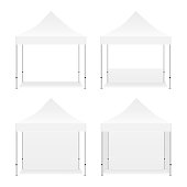 Set of blank outdoor promotional square tents mockup isolated on white background. Vector illustration