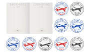 Blank passport pages and decorative travel stamps. Vector illustration