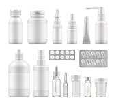 3d blank pharmaceutical medical packaging: container for supplement, spray bottle for drugs. Mockup of clean pack for medicament. Vector illustration set for package design with empty place for label.