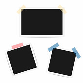 Blank photo frame. Retro frames with duct tape. Vector
