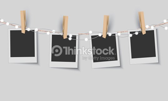 Blank Photo Frames With Fairy Lights Arte vectorial | Thinkstock