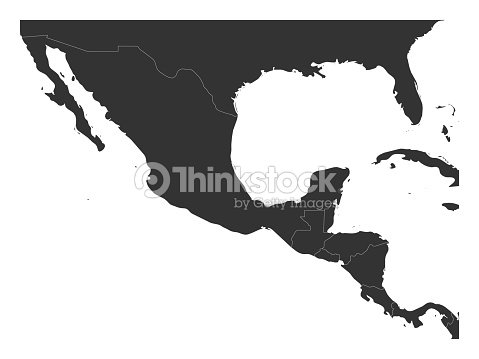 Blank Political Map Of Central America And Mexico Simple Dark Grey ...