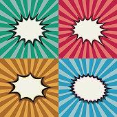 Blank pop art speech bubbles and burst shapes on retro superhero sunset background vector set. Backdrop bang burst, illustration of page with radial burst