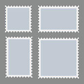 Blank postage stamps template set on dark background. Rectangle and square postage stamps for envelopes, postcards. Vector.
