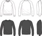 Blank Men's raglan long sleeve sweatshirt in front, back and side views. Isolated on white.
