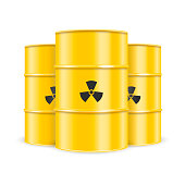 Blank realistic Nuclear yellow barrel. Vector.
