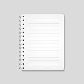 Blank realistic spiral notebook, notepad isolated on white background. Vector illustration