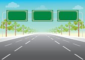 Blank road sign on highway, Add your own text, conceptual flat design vector illustration.