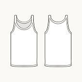 Blank singlet template. Flat design