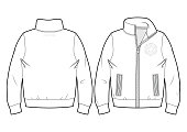 Sport sweatshirt with zip closure and pockets (front and back view)