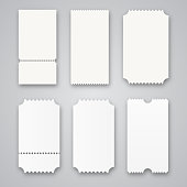 Blank tickets isolated. Vector illustration for your design.