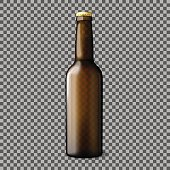 Blank transparent brown realistic beer bottle isolated on plaid background with reflection. Vector illustration