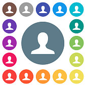 Blank user avatar flat white icons on round color backgrounds. 17 background color variations are included.