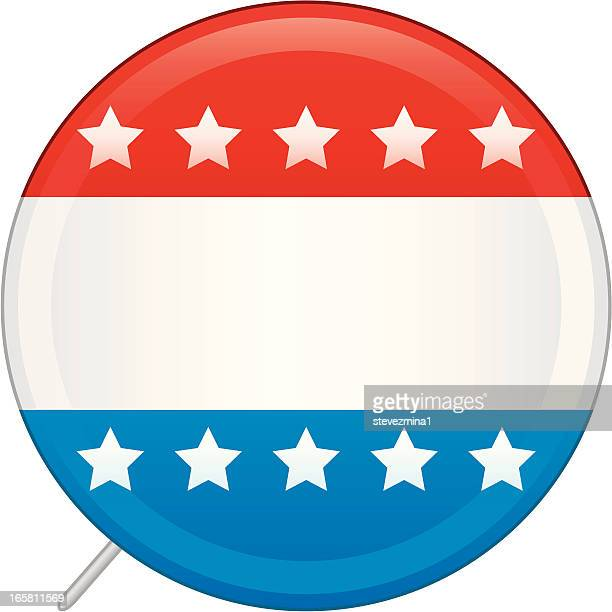 Blank vote pin in red, white, and blue decorated with stars