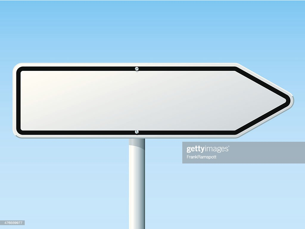 blank white direction right arrow road sign vector art