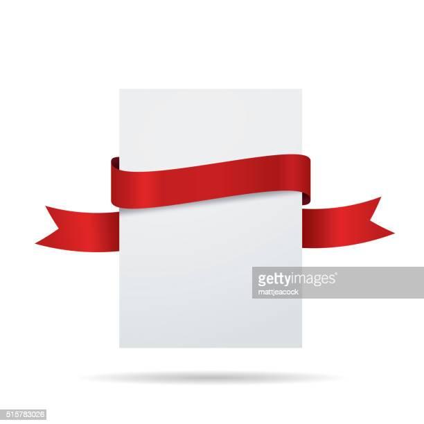 Étiquette vide blanc avec un ruban rouge