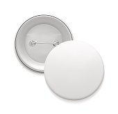 Blank white round pin. Empty badge template, front and back. Graphic design element for slogans, sale announcements, corporate identity, scrapbooking. Vector illustration