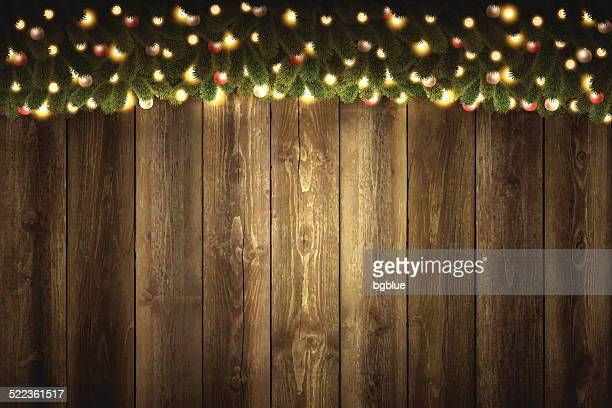 blank wooden background with bright christmas garland - Christmas Light Garland