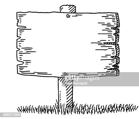 Blank Wooden Sign Drawing Vector Art | Getty Images
