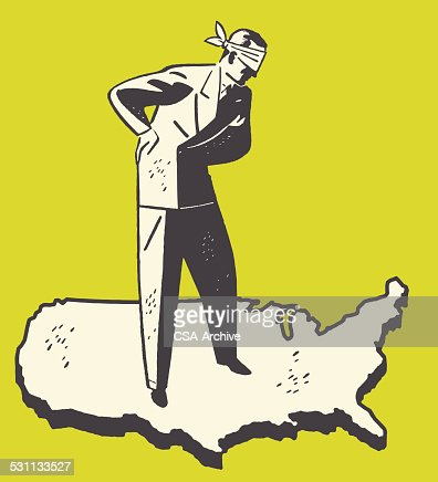 Man In Blindfold Vector Art Getty Images - Man in the us map