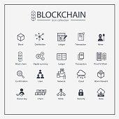 Block chain web icon set. information icon, analytics, cloud computing, block chain, block, Distribution, Ledger, Transaction icon Blockchain icon minimal design. Block connect data.