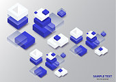 Blockchain concept banner. Isometric blocks, cubes connect with each other and form cryptochains. Vector abstract technology background for your design.