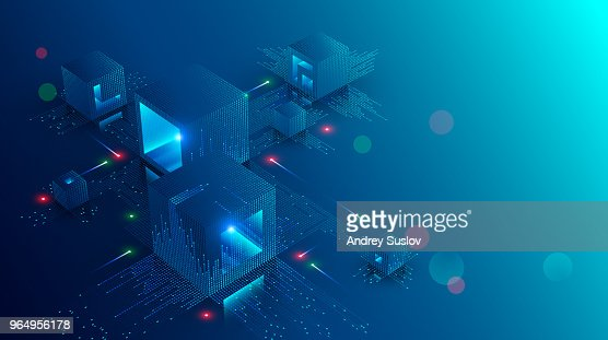 Blockchain concept banner. Isometric digital blocks connection with each other and shapes crypto chain. Blocks or cubes, connection consists digits. Abstract technology background. Vector illustration : Vector Art