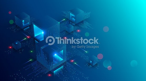 Blockchain concept banner. Isometric digital blocks connection with each other and shapes crypto chain. Blocks or cubes, connection consists digits. Abstract technology background. Vector illustration : stock vector