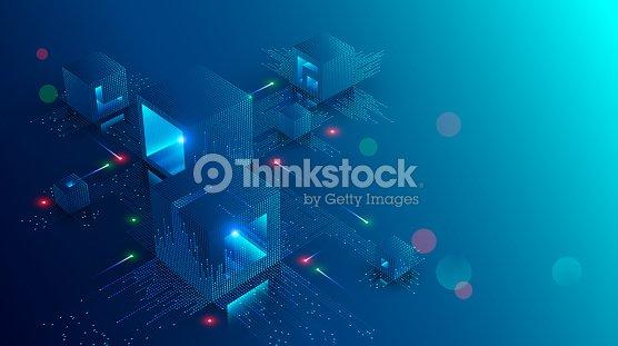 Blockchain コンセプト バナー。等尺性デジタル相互接続をブロック暗号チェーンを形.ブロックやキューブ接続に桁の数字で構成されています。技術の背景を抽象化します。ベクトル図 : ベクトルアート