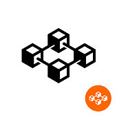 Blockchain icon. Block chain technology symbol. 3D cube nodes connected in a common structure.
