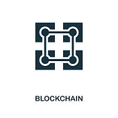 Blockchain icon. Monochrome style design from crypto currency collection. UI. Pixel perfect simple pictogram blockchain icon. Web design, apps, software, print usage.