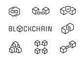 Blockchain vector icons in editable line style