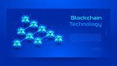 Blockchain isometric concept banner. Modern Concept of Digital Technology in the Shape of Block Chain net. Vector Illustration.