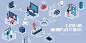 People using touch screen interfaces, augmented reality and IOT devices: blockchain of things and networks concept