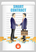 Smart contract lettering, two businessmen shaking hands. Vector illustration. Blockchain safety automated speed smart contracts concept design element.