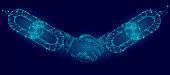 Blockchain technology agreement handshake business concept low poly. Polygonal point line geometric design. Hands chain link internet hyperlink connection blue vector illustration art