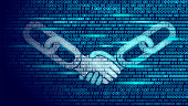 Blockchain technology agreement handshake business concept low poly. Icon sign symbol binary code numbers design. Hands chain link internet hyperlink connection blue vector illustration art