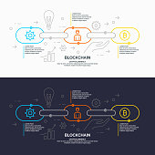 Blockchain technology and cryptocurrency. Vector flat illustration