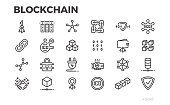 Blockchain technology icons. Cryptography, crypto currency and other symbols. Editable line.